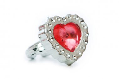 Heart shaped ring isolated on the white