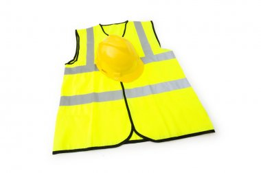 Yellow vest and hardhat isolated