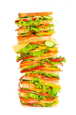Giant sandwich isolated on the white