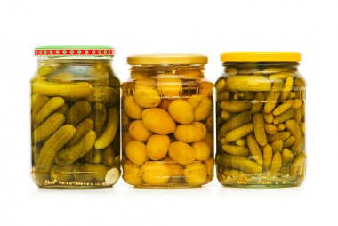Pickled cucumbers and olives