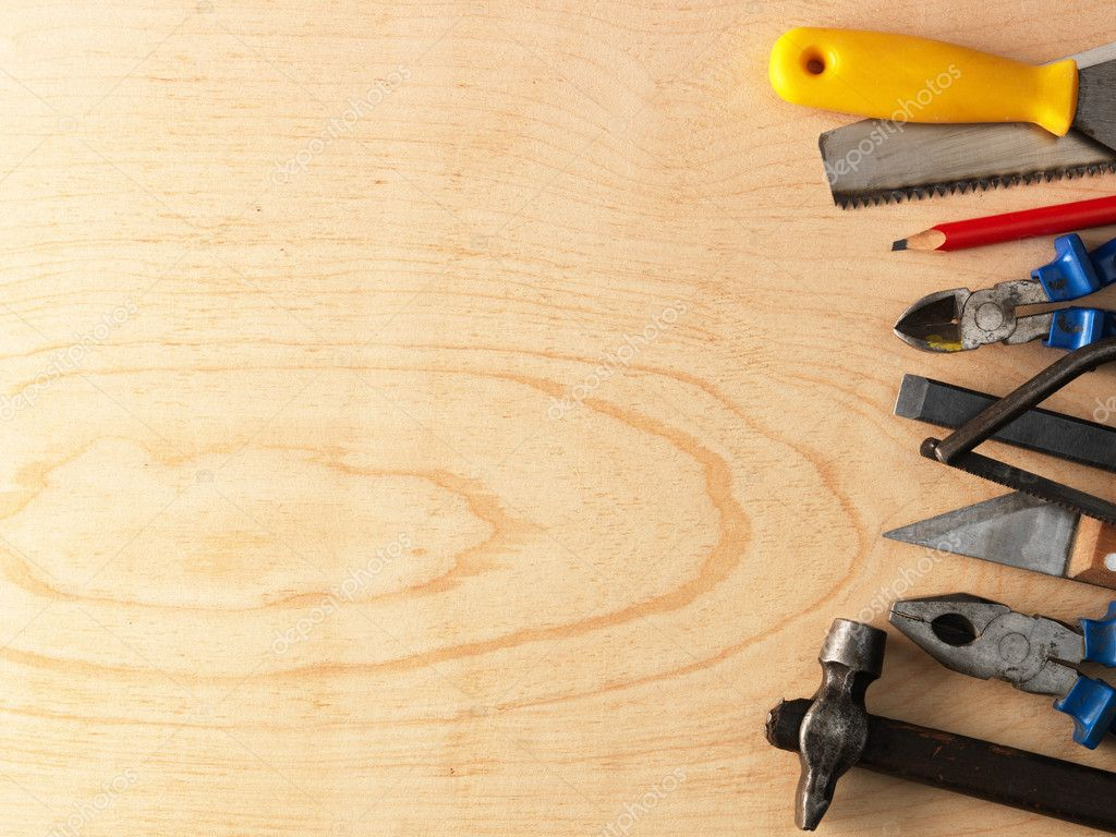 Tools on a wooden background stock photo irochka 5130973 for Wallpaper home hardware