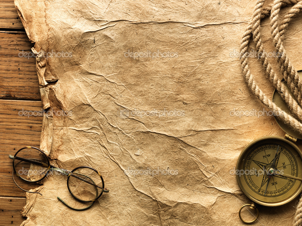 Compass, rope, glasses and old paper
