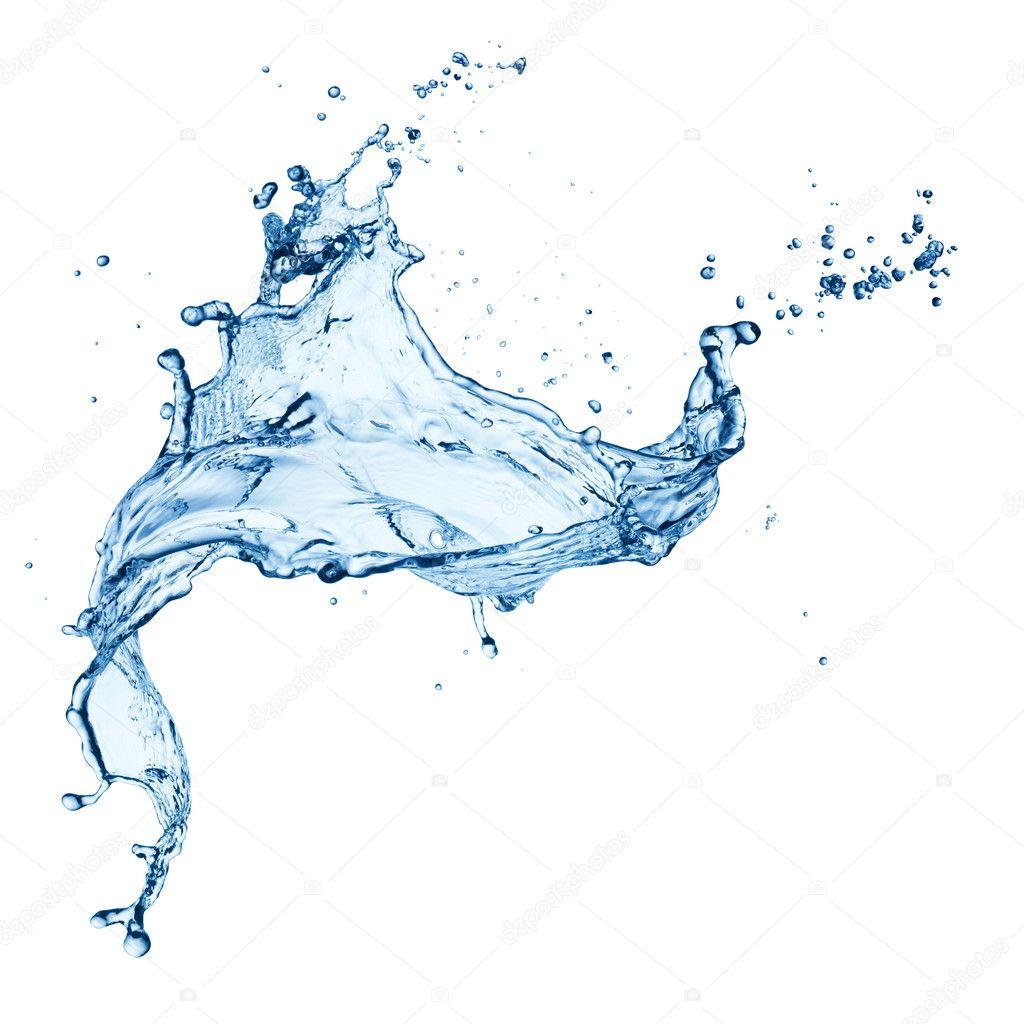 Blue water splash isolated