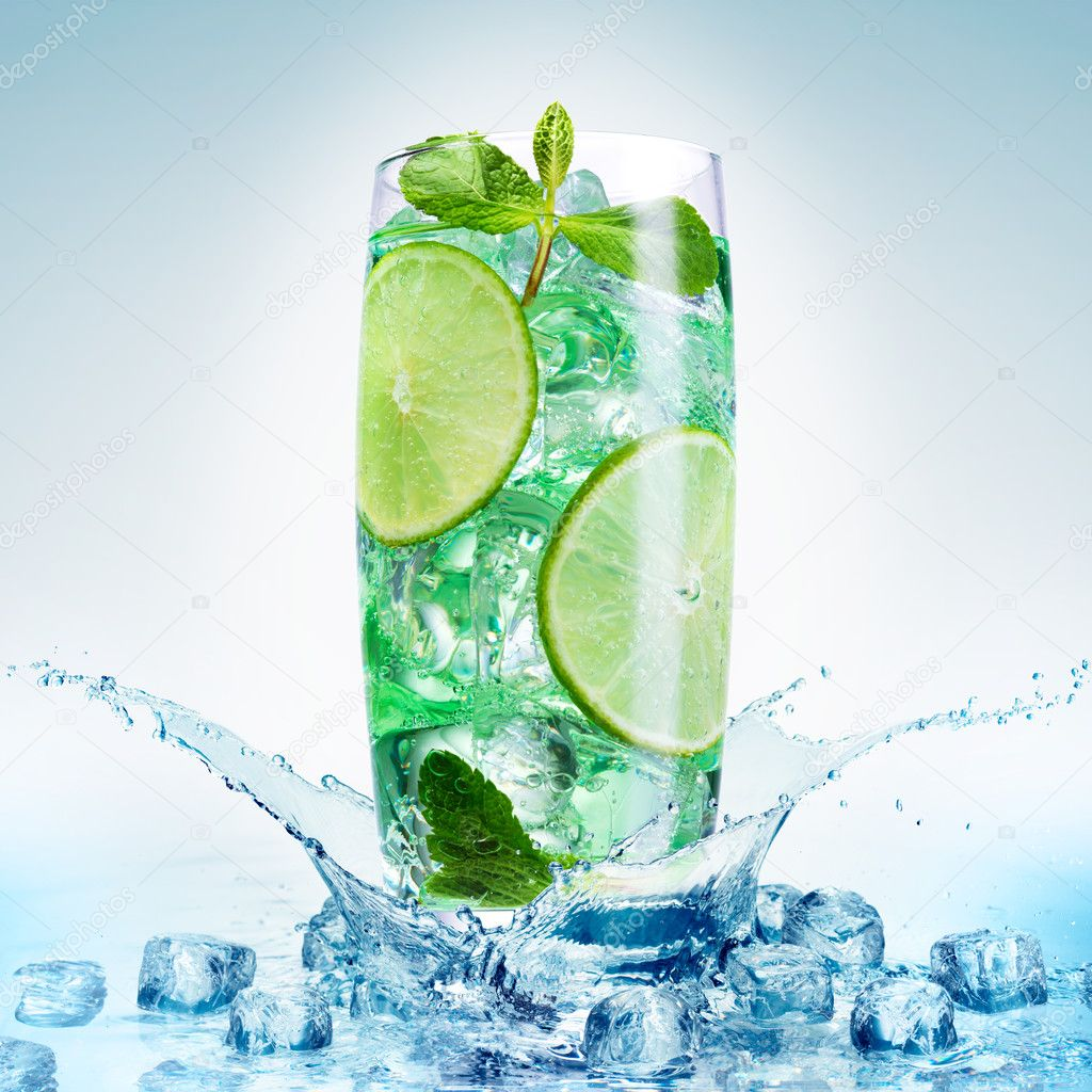 Fresh mojito isolated on white.