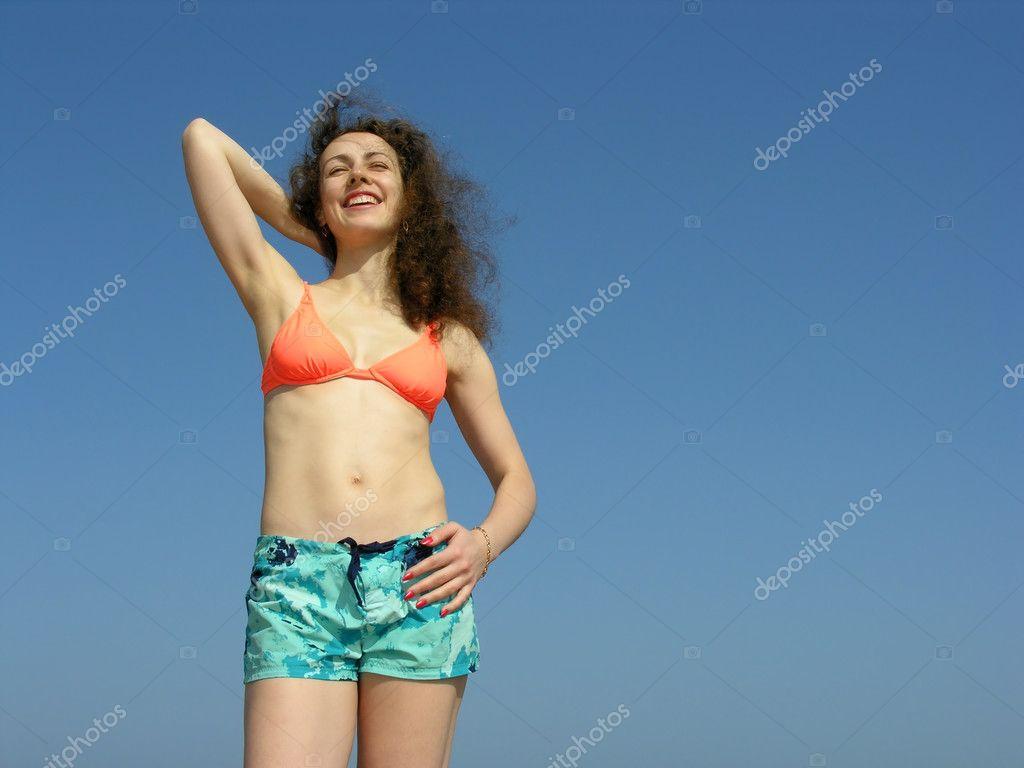 Body smile girl on blue sky