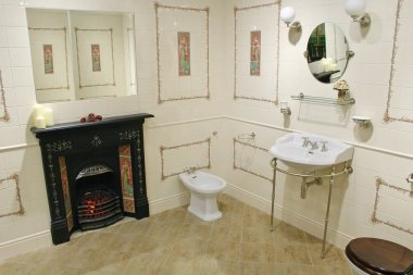 Toilet with fireplace