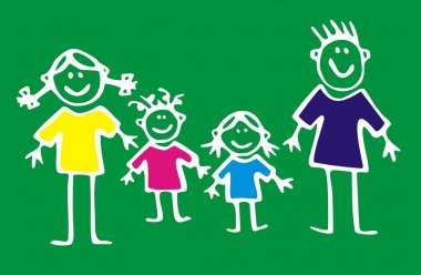 Happy Family on green background