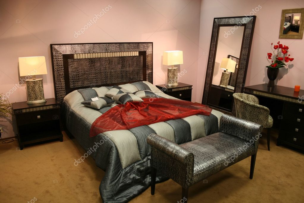Bedroom with leather decoration
