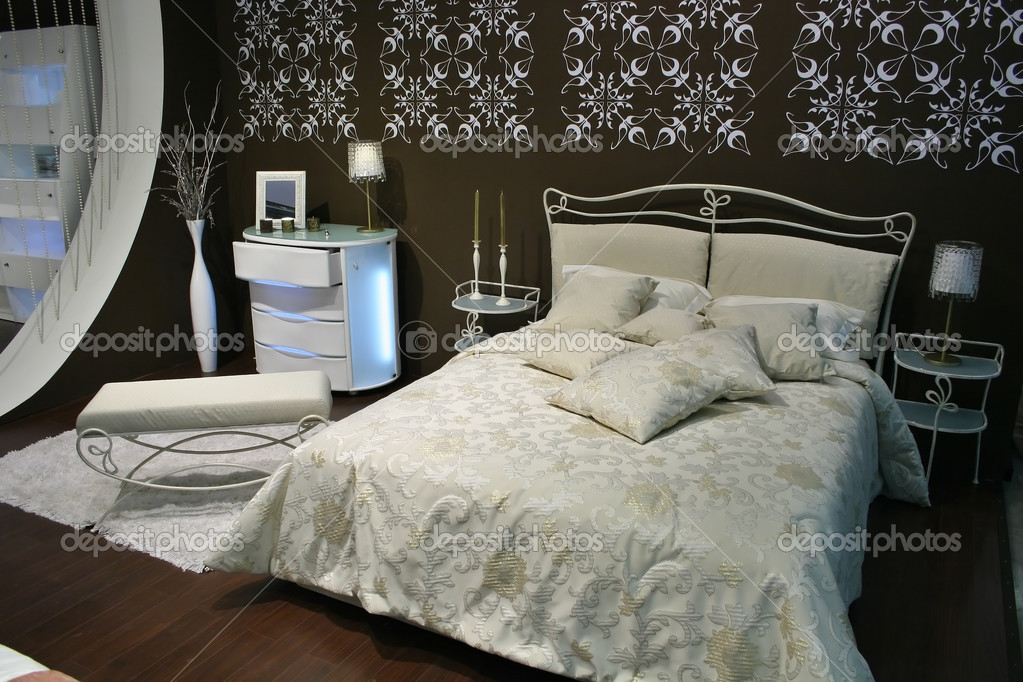 Slaapkamer Bruin Wit : Wit bruin slaapkamer u stockfoto paha l