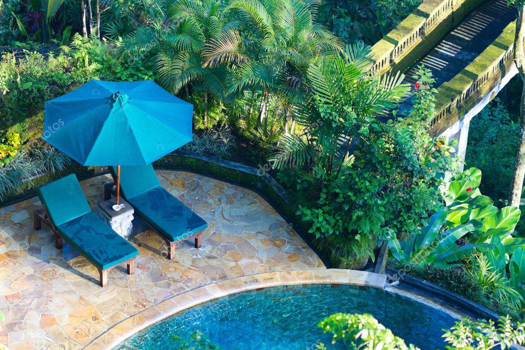 Beautiful wellness area and swimming pool in luxury resort.