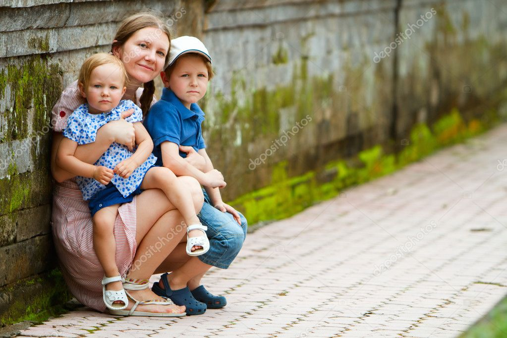 Mother and kids