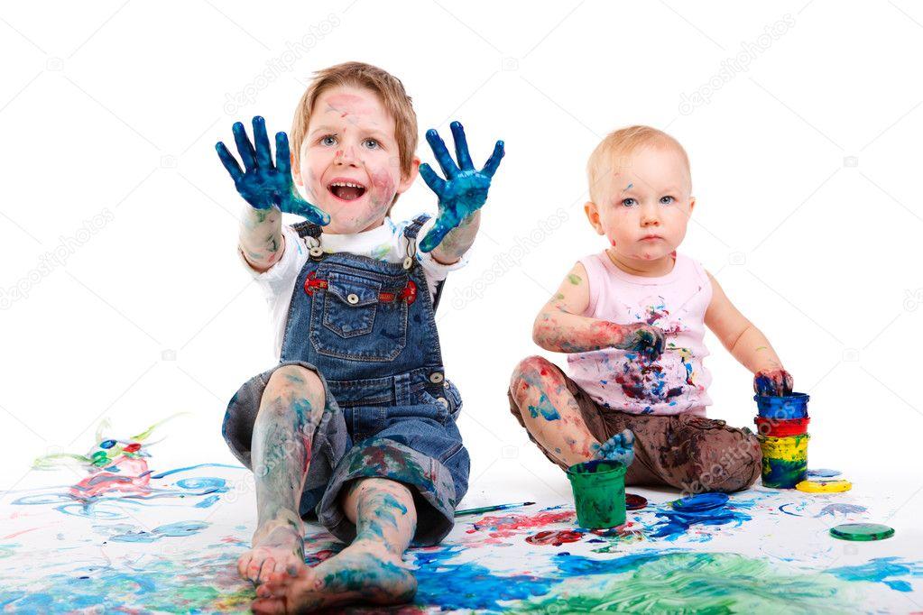 niños pintando — Foto de stock © shalamov #3724293