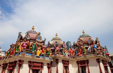 Closeup of Sri Mariamman Hindu Temple in Singapore stock vector