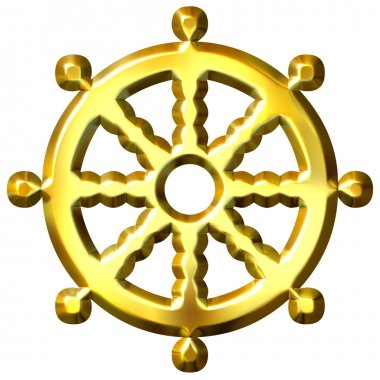 3d golden Buddhism symbol Wheel of Dharma isolated in white. Represents Buddha's teaching of the path to enlightenment, stock vector