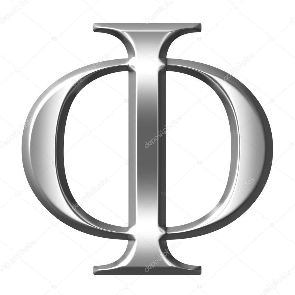 3D Silver Greek Letter Phi