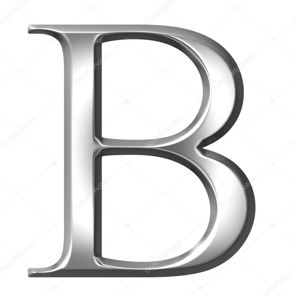 3d silver Greek letter Beta isolated in white — Photo by ...