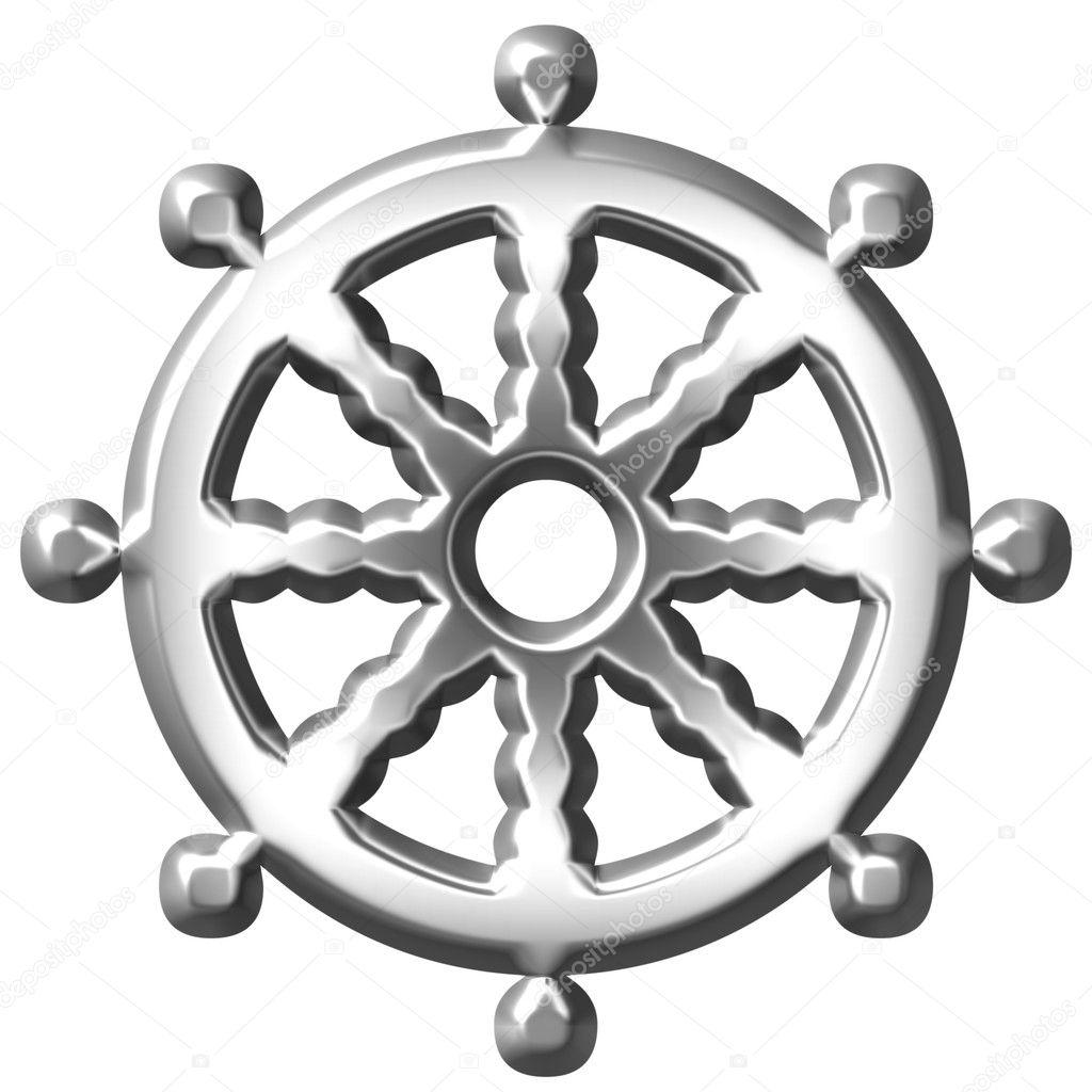 3d silber buddhismus symbol rad des dharma stockfoto georgios 3494015. Black Bedroom Furniture Sets. Home Design Ideas