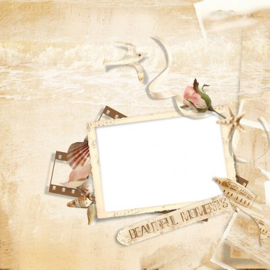 Vintage background with frames and shells