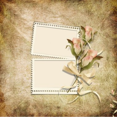 Vintage background with stamp-frames and roses