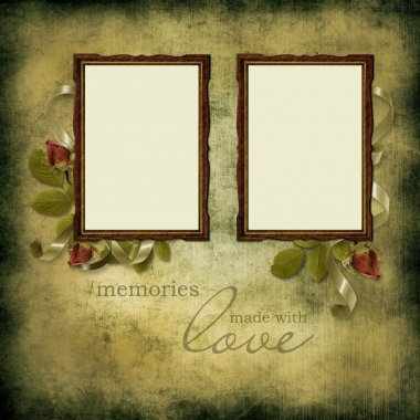 Vintage beautiful frames on old grunge background