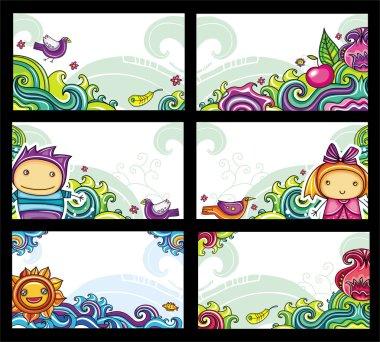 Colorful floral cards set, floral series