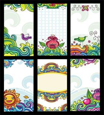 Colorful floral cards set (floral series