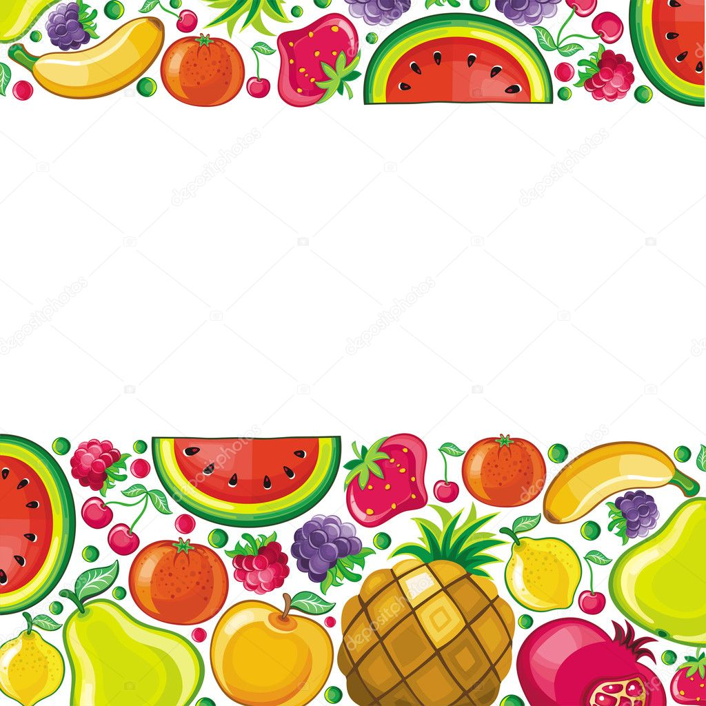 Fruits combined in frame — Stock Vector © dianka #3240080