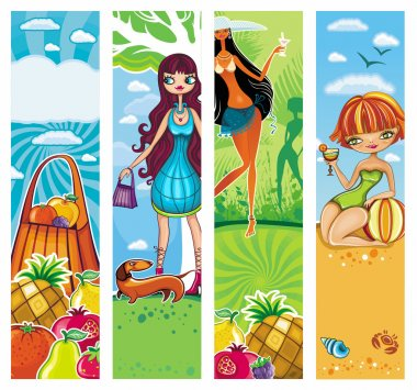 Vector vacation banners set 5.