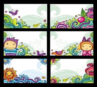 Colorful floral cards set (floral series)
