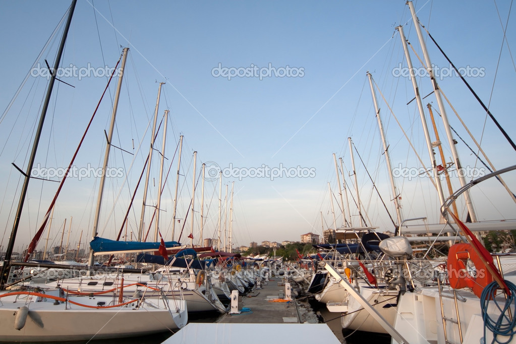 Sailing boats in turkish marine