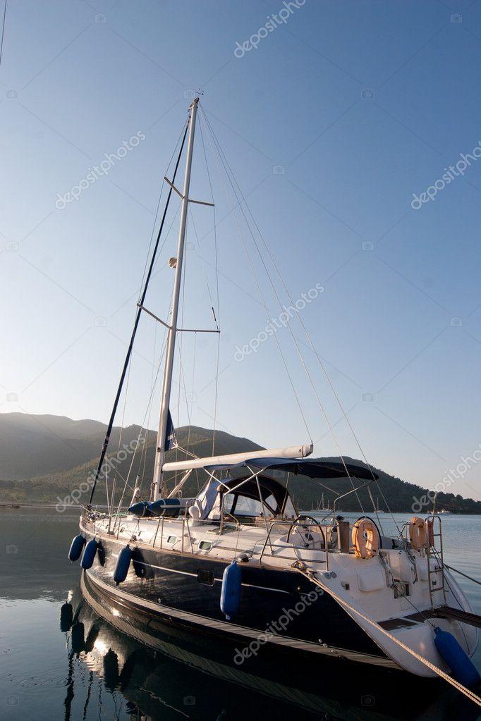 Sailing boat in turkish marine