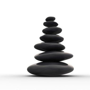 Balanced row from zen pebbles