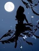 Fotografie Fee Silhouette im Nachthimmel