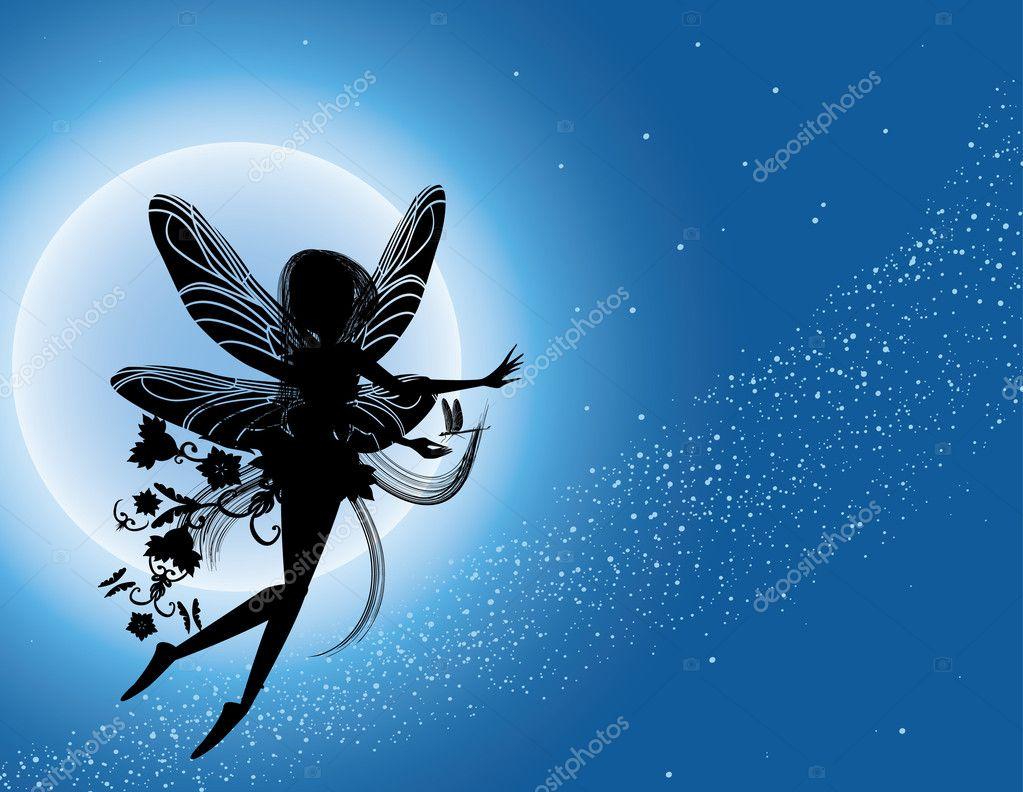 Flying fairy silhouette in night sky