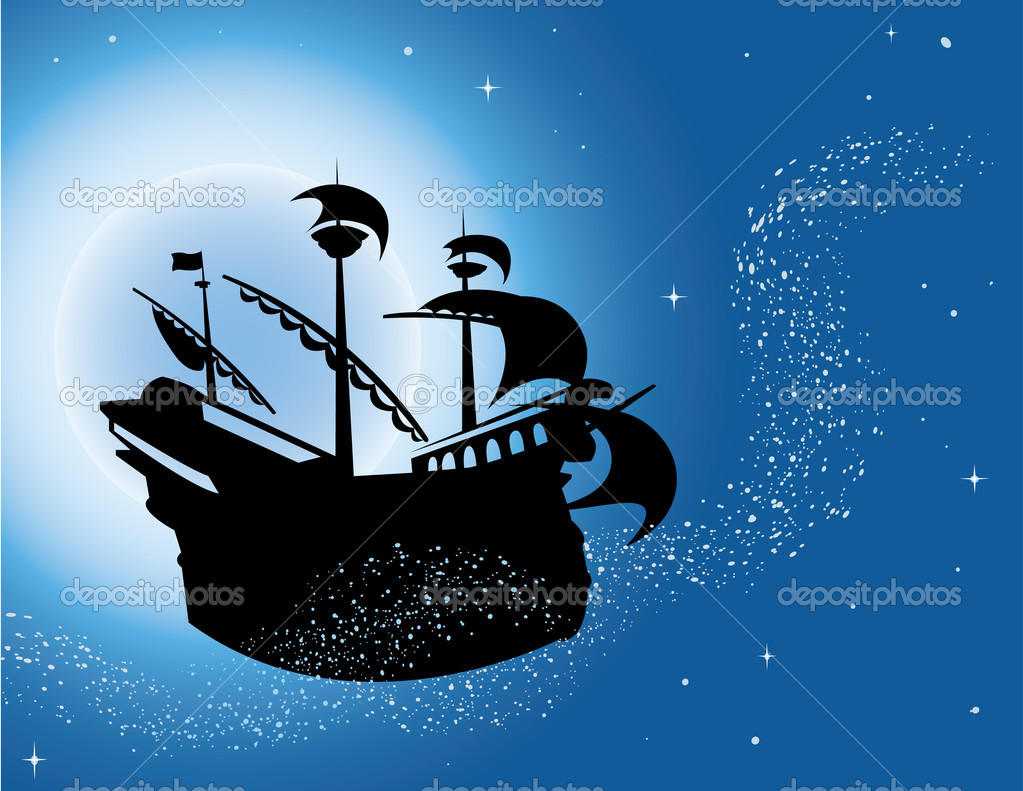 Magic sailing vessel silhouette in night sky