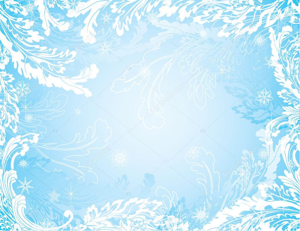 Blue frozen winter background with snowflakes