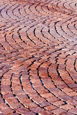 Red brick paved road pattern