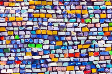 horizontal colorful mosaic texture on wall