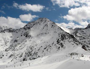 Snowy mountains peak in Andorra