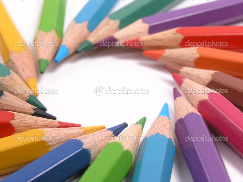 Assortment of colored pencils with shado
