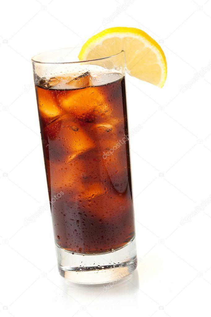 cola in highball glass with lemon slice stock photo karandaev