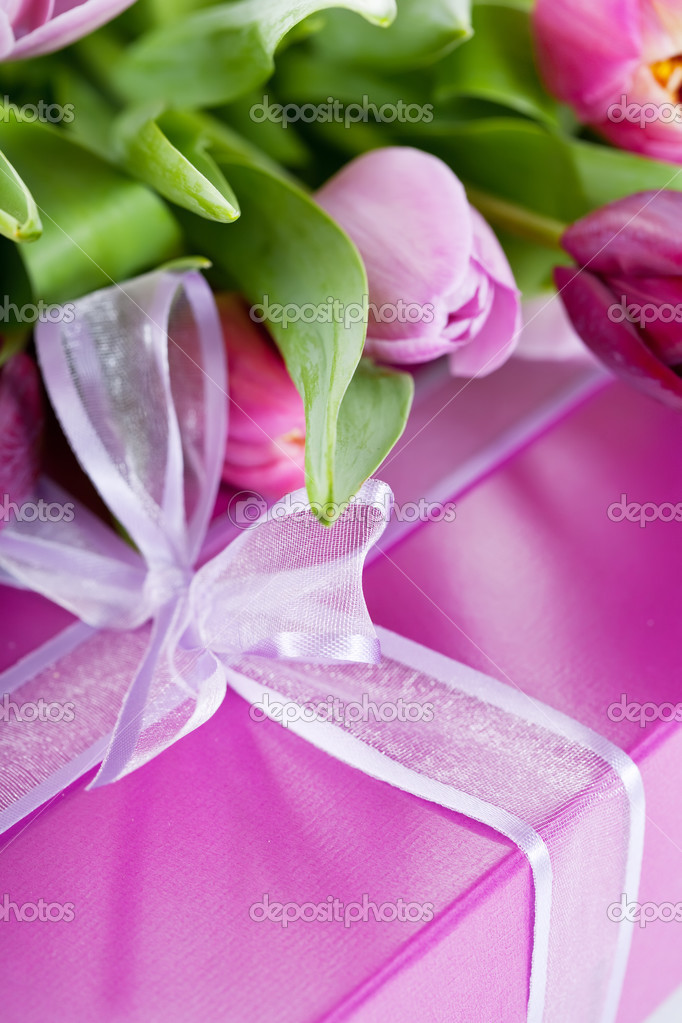Pink tulips and gift box
