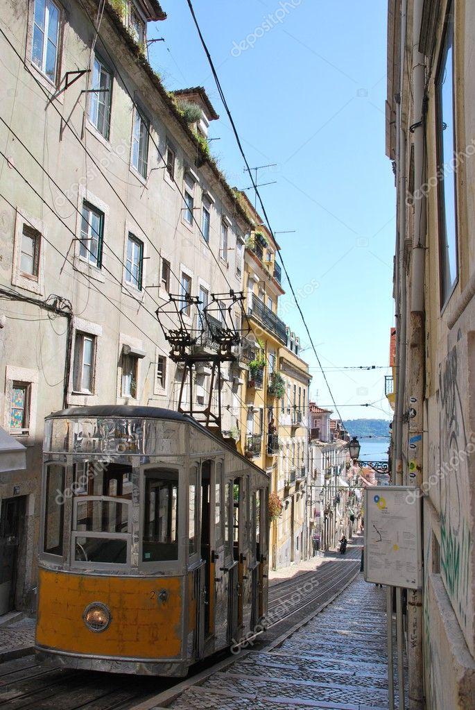 Bica Elevator Tram In Lisbon Portugal Stock Photo C Luissantos84