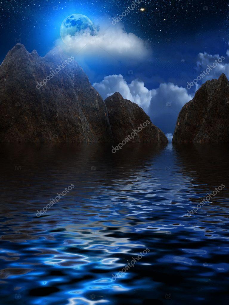 Moon sky clouds