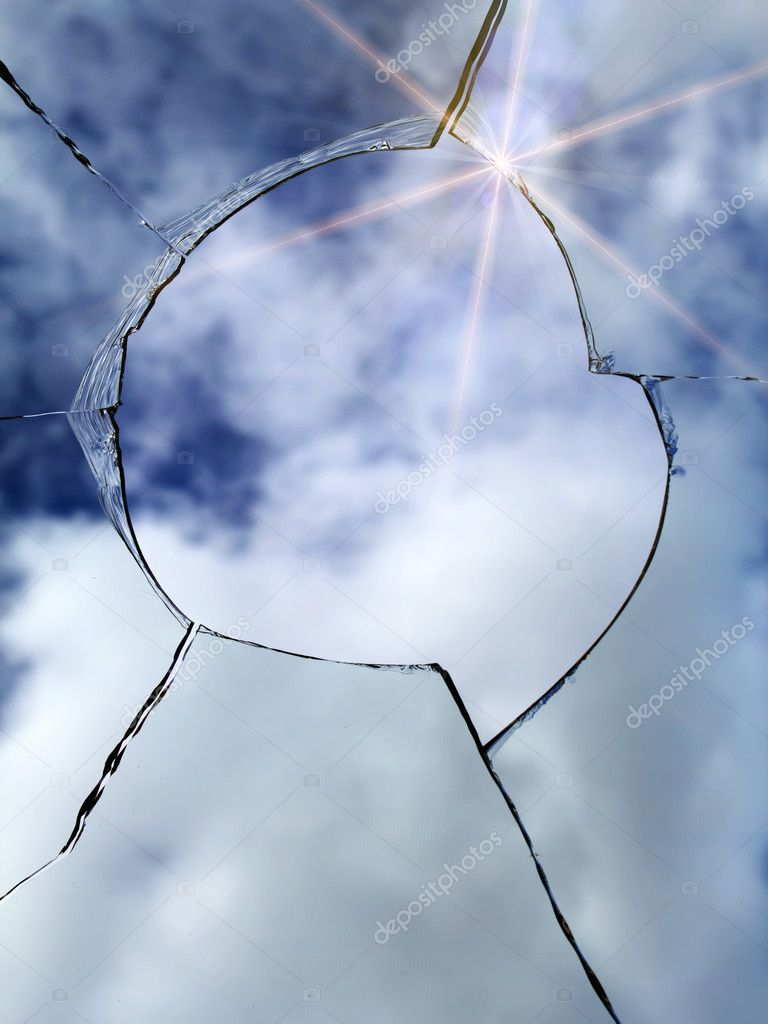 glass broken window stock photo olegusk 3311659. Black Bedroom Furniture Sets. Home Design Ideas