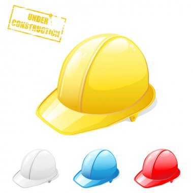 Vector illustration of safety helmets in different colors stock vector