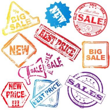 Vector sale stamp set