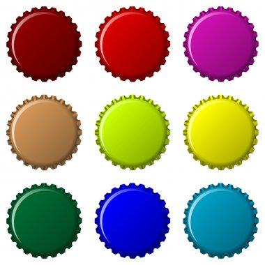 Bottle caps in colors