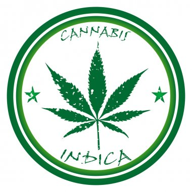 Cannabis stamp against white