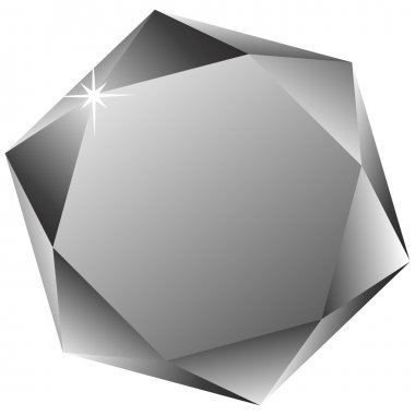 Hexagonal diamond against white